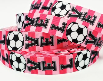 """7/8"""" inch LOVE SOCCER Light Pink and Pink Stripes Sports Printed Grosgrain Ribbon for Hair Bow - Original Design"""