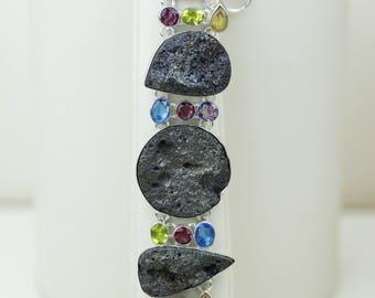 Pyrite Titanium Druzy Blue Topaz Amethyst Peridot Citrine 925 SOLID Sterling Silver Bracelet B2703