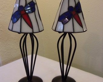 stained glass shades,black metal,tea light holders,dragonfly design shades,blue,red,white,nature,patio decor,home decor,soldered glass,gift