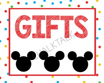 Gifts Sign - Mickey Mouse Gifts Sign - Mickey Mouse Chalkboard - Mickey Mouse Party - Digital File - Photo Prop