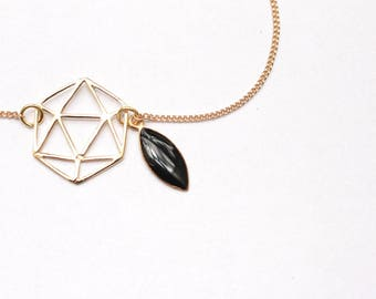 Life leaf enamel black chain bracelet