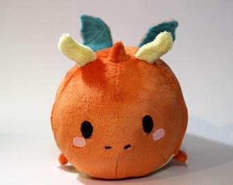 "Happy Orange & Teal ""Dragonite""- Style Dragon Roll Plush"