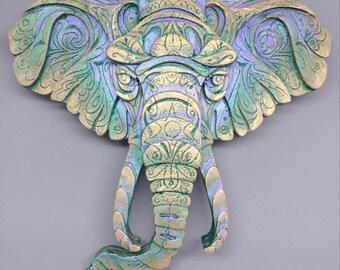 Colorful Detailed Elephant Head Cement Sculpture