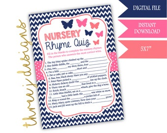 Butterfly Baby Shower Nursery Rhyme Game - INSTANT DOWNLOAD - Navy Blue, Pink and Coral - Digital File - J003