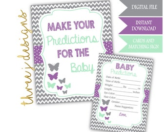 Butterfly Baby Shower Predictions for Baby Cards and Sign - INSTANT DOWNLOAD - Gray, Lavender and Mint - Digital File - J005