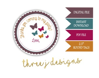 Butterfly Birthday Party Thank You Favor Tags - INSTANT DOWNLOAD - Brown, Teal, Maroon and Gold - Digital File - J012