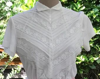 Vintage 50s, blouse, lace blouse