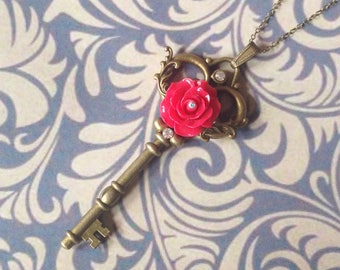 Red rose key pendant