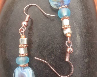 Blue and Rose, copper drop earrings