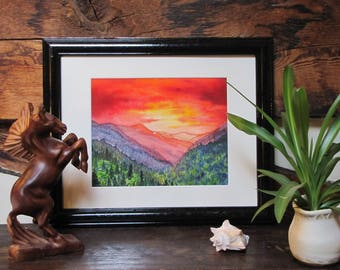 "Smoky Mountain Sunrise on the Appalachian Trail - 8x10"" Original Watercolor Painting"