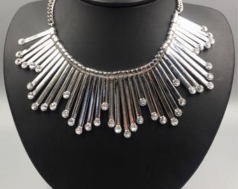Silver Rhinestone Cleopatra Fringe Necklace - Vintage 1980s Graduated Fringe Necklace, Egyptian Revival