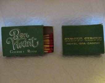 Collectible Tobacciana Match Boxes- 2 Circus Circus Bon Vincent Room