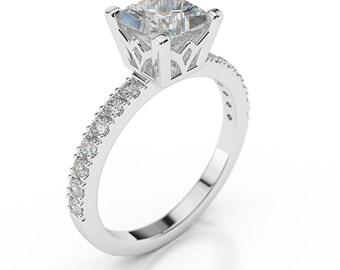 1 1/4 Carat Princess Cut Diamond Engagement Ring F/SI1 14K White Gold