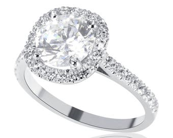 1.90 CT F/SI1 Solitaire Round Cut Diamond Engagement Ring 14K White Gold