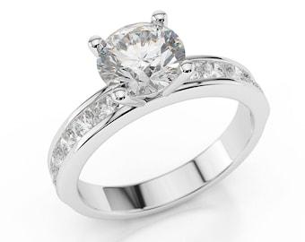 1.90 CT Classic Round Cut Diamond Engagement Ring 14K White Gold F/SI1