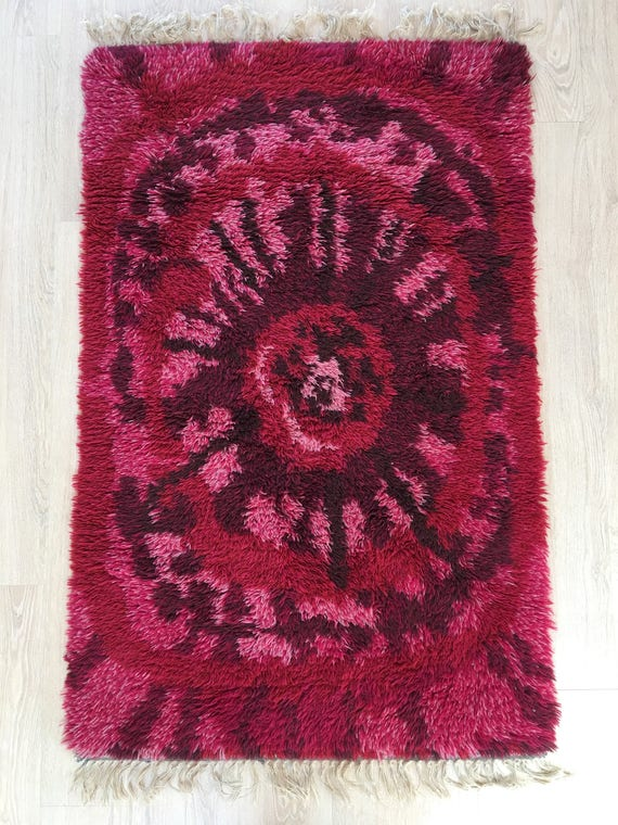 Vintage midcentury Scandinavian rug or ryamatta pure wool abstract pattern circa 1970's