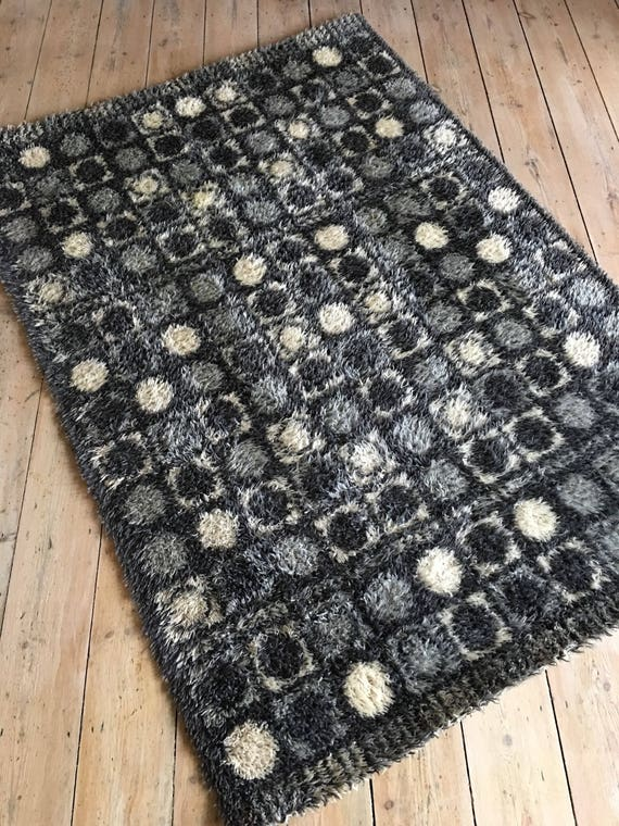 Vintage Swedish short shagpile rug black and white circles rya circa 1960's