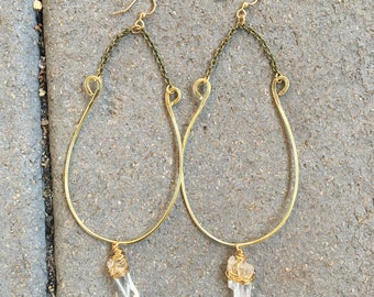 Spirit Earrings - Raw Brass Jewelry - Artisan Hand-Crafted Jewelry - Clear Quartz
