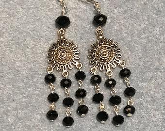 Black crystal dangle drop chandelier earrings