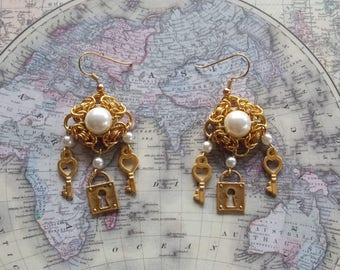 Gold Plated Lock and Key Earrings