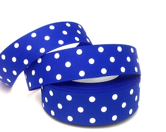 Royal Blue Ribbon, Royal Blue Grosgrain, Blue Ribbon, Blue Grosgrain, Blue Polka Ribbon, Blue Dot Ribbon, Royal Ribbon, Royal Grosgrain