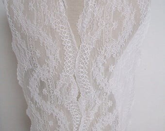 "RESERVED 4 yards off white/ivory french lace trim (N136)/ 9""wide stretch lace trim by the yard"