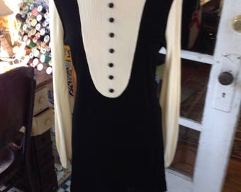 70's black and white tuxedo mini dress, acetate