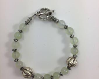 Jade & Silver Bead Bracelet by Pottery Lovely