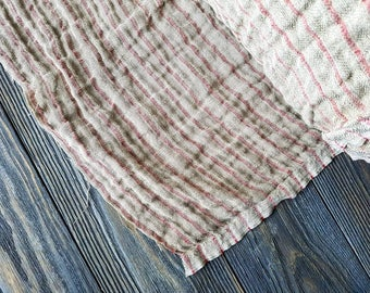 Striped rough linen fabric by the meter, striped washed softened heavy linen fabric by the yard, vintage linen tablecloth fabric 280GSM