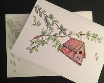 Birdhouse/Handpainted Watercolor Greeting Card