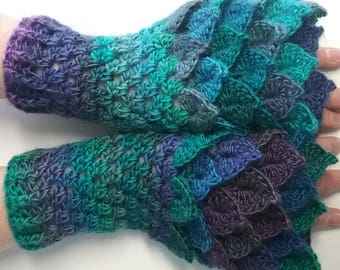 Blue Crochet Dragon Gloves, Fingerless Gloves, Mermaid Gloves, Dragon Scale Mittens, Wrist Warmers, Cuff Texting Gauntlets Knit Gloves