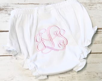 Monogrammed Bloomers, Diaper Cover, White Ruffle Bloomes