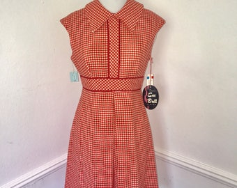 Vintage Houndstooth Dress// Sue Brett// Size XS// Made in USA// Deadstock with Original Tags