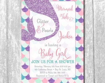 Mermaid Baby Shower Invitation,Mermaid Printable Invitation,Under the sea baby shower invite, girl, Printable Invitation, Digital Invitation