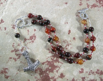 Thor Prayer Bead Necklace in Sardonyx:  Norse God of Thunder, Protector of Humanity