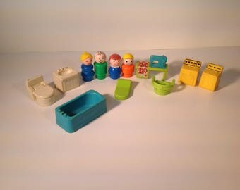 Vintage Fisher Price and utility room set play family 1971