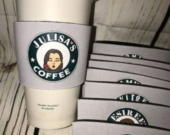 Coffee cups bitmoji personalized sleeves