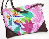 Crossbody Pink Hibiscus Convertible Zipper Clutch / Purse with Zipper Pull and Interchangeable Purse Strap