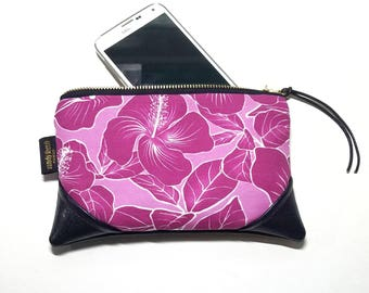 Mini Fuchsia Hibiscus Zipper Pouch / Mini Clutch with inside lining and Zipper Pull or Leather Wristlet Strap