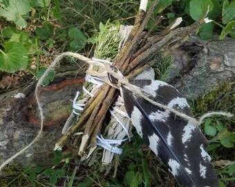 Smudge Bundle, Cedar & White Sage Smudge Sticks, Sassafras Twig Bundle, Feather, Smudging, Sacred Smoke, Meditation, Blessing