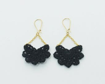 """Andalusian"" large molded black earrings"