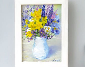 Flower painting Original art Daisy Lupine Lily bouquet Floral art Still life flowers Home decor Gift for her Oil on canvas framed Signed art