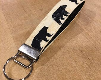 Rustic Black Bear key fob wristlet - Bear key fob - nature lover wristlet - House Warming gift - cabin lanyard - gift for her