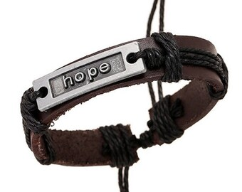 Hope Charm Brown Leather Black Cord Bracelet 7.5 Inches Adjustable Unisex