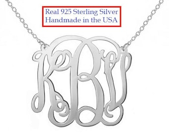 SALE  Personalized Silver Monogram Necklace, 1 inch  (small) Any initial Silver Monogram, made with 925 sterling silver