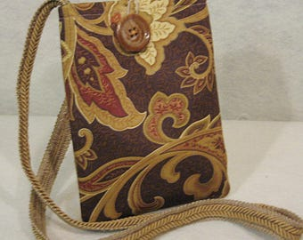 Brown Paisley Crossbody, Phone Crossbody Bag, Phone Shoulder Bag, Mini Crossbody, Mini Bag, Bitty Bag, Brown Crossbody, Brown Paisley Bag