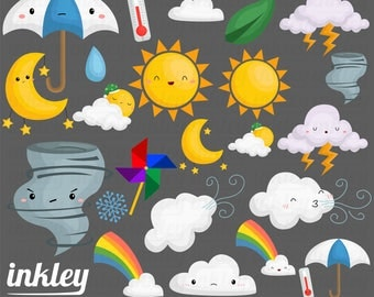 50%OFF!! Weather Clipart - Cute Clipart, Weather Clipart, Fun Clipart, Clipart Set, Adorable Digital Clip Art