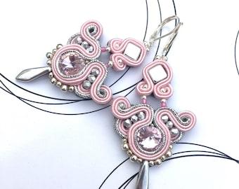 Luxury Jewelry, Pastel Pink Silver Earrings, Birthday Gift For Woman, Medium Size Earring, Shiny Earrings, Bohemian Earrings, Boho Chic