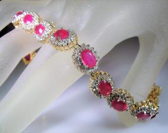 14K Gold Ruby Diamond Bracelet, Ruby Diamond Bracelet, Ruby Bracelet, 13 Stations, Red Ruby Bracelet, Vintage Ruby Bracelet, 6.5 Inches