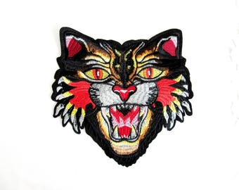 Iron On Panther Patch,Panther Applique,Large Embroidery Panther Head,Flame Panther,Roaring Panther,Cat Patch